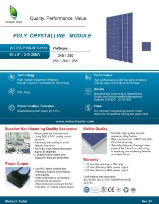 Polycrystalline 250w/255/w 260w