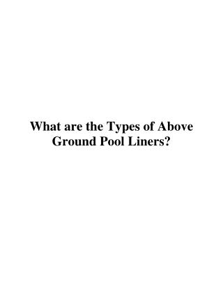 What are the Types of Above Ground Pool Liners?