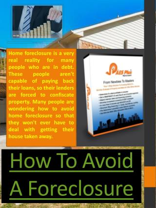 How To Avoid Foreclosure With Bad Credit