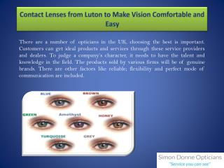 Contact Lenses from Luton to Make Vision Comfortable and Easy