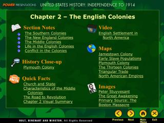 Chapter 2   The English Colonies