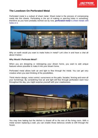 The Lowdown On Perforated Metal