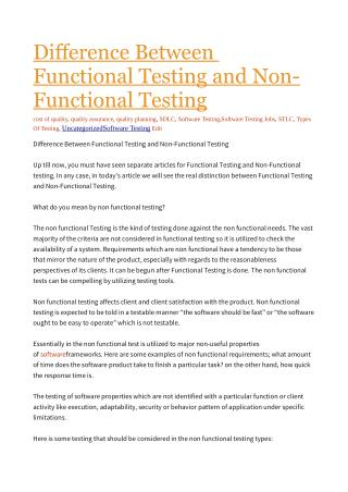 Functional Testing and Non-Functional Testing