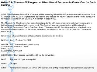 Writer E.A. Channon Will Appear at WizardWorld Sacramento Comic Con for Book Signing