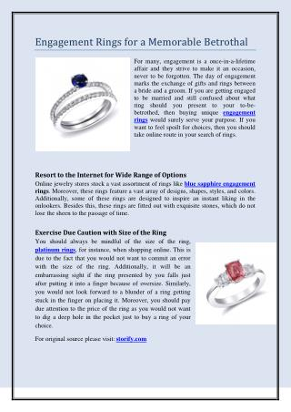 Engagement Rings for a Memorable Betrothal