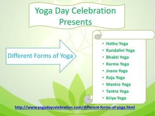 Different forms of Yoga on yogadaycelebration.com