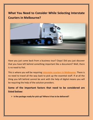 What You Need to Consider While Selecting Interstate Couriers in Melbourne?