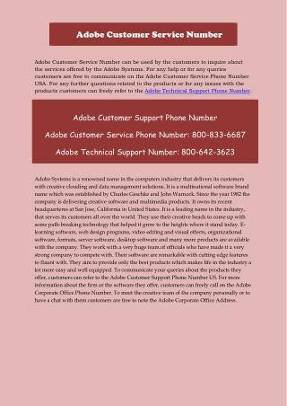 Adobe customer support Number