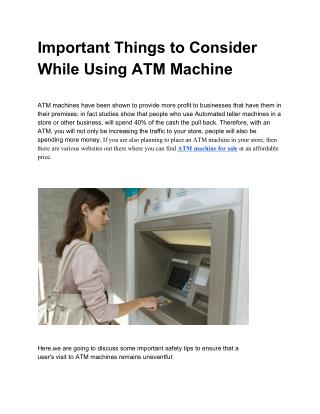 Important Things to Consider While Using an ATM Machine