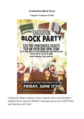 Graduation Block Party in Stamford CT