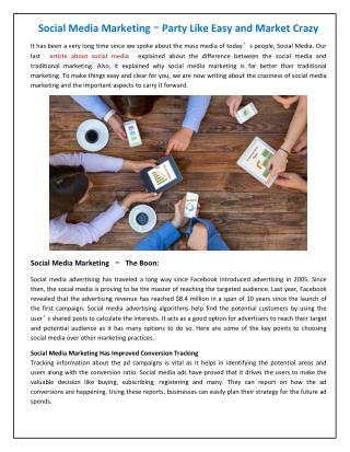 Social Media Marketing – Party Like Easy and Market Crazy