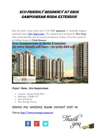 Eco-friendly Residency at Eros Sampoornam Noida Extension