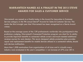 Warrantech Named As A Finalist In The 2015 Stevie Awards For Sales & Customer Service