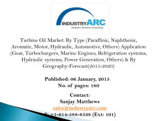 Turbine Oil Market: mineral oils had the largest market shares almost 96.8% in previous years.