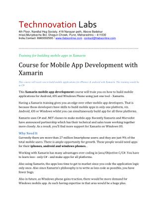 xamarin best professional corporate trainer