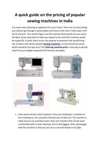 A quick guide on the pricing of popular sewing machines in India