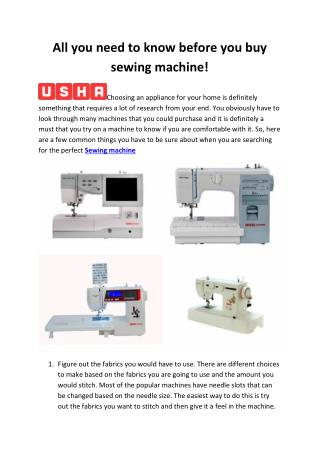 """All you need to know before you buy sewing machine!"""