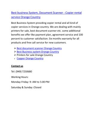Best business System, Document Scanner - Copier rental service Orange Country