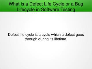 What is a Defect Life Cycle in Software Testing