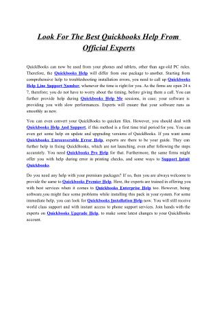 Look For The Best Quickbooks Help From Official Experts
