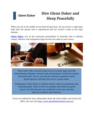 Hire Glenn Duker and Sleep Peacefully