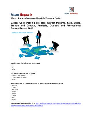 Cold working die steel Market Analysis, Outlook and Professional Survey Report 2016