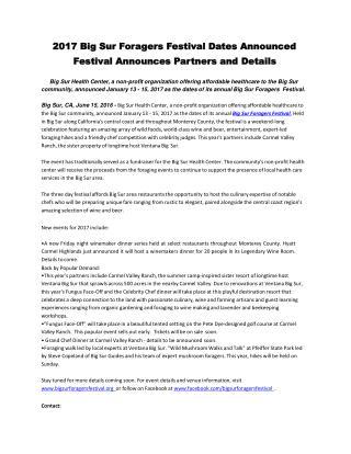 2017 Big Sur Foragers Festival Dates Announced Festival Announces Partners and Details