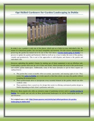 Opt Skilled Gardeners for Garden Landscaping in Dublin