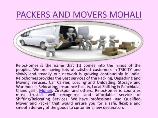 Packers and Movers service in Mohali