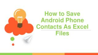 How to Save Android Phone Contacts As Excel Files
