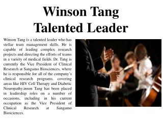 Winson Tang - Talented Leader