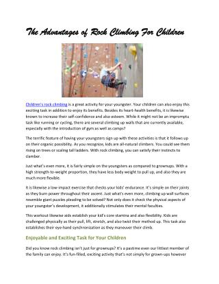 The advantages of rock climbing for children