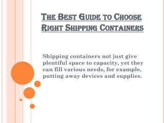 The Best Guide to Choose Right Shipping Containers