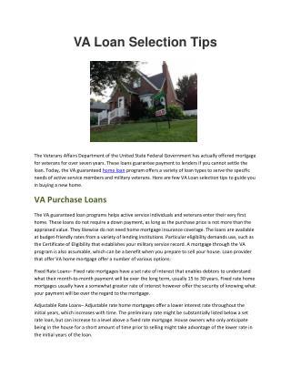 VA Loan Selection Tips