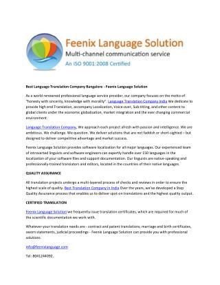 Best Language Translation Company Bangalore - Feenix Language Solution