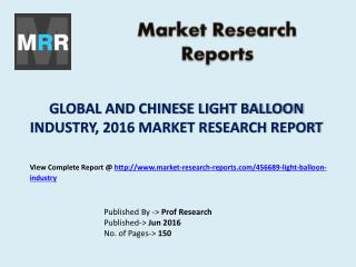 Global and Chinese Light Balloon Industry Product and Specifications Market Analysis and Forecasts 2016 to 2021