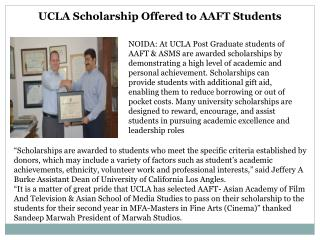 UCLA Scholarship Offered to AAFT Students