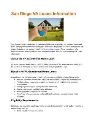 San Diego VA Loans Information