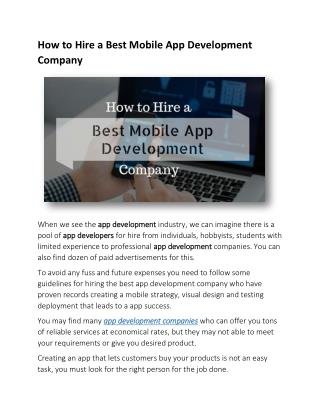 How to Hire a Best Mobile App Development Company
