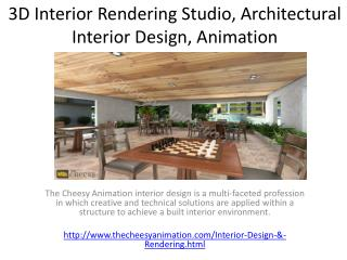 3D Interior Rendering Studio, Architectural Interior Design, Animation