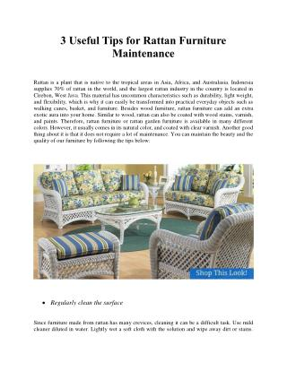3 Useful Tips for Rattan Furniture Maintenance