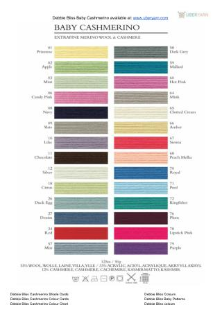 Debbie Bliss Baby Cashmerino Color Chart 1