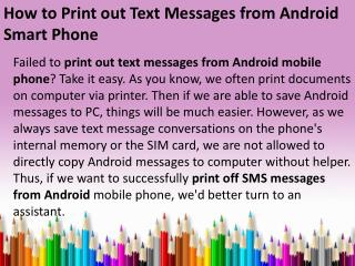 How to Print out Text Messages from Android Smart Phone