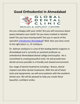 Good Orthodontist In Ahmedabad-Global Dental Clinic