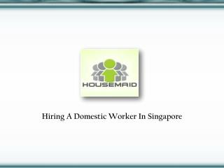 Domestic Maid In Singapore