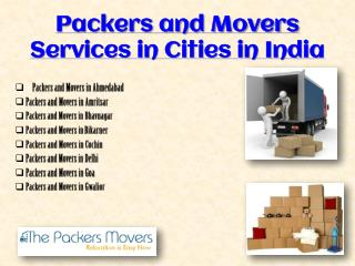 Thepackersmovers.com Presents Services in Various Cities