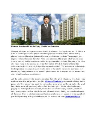 Ultimate Residential Units To Enjoy World Class Amenities