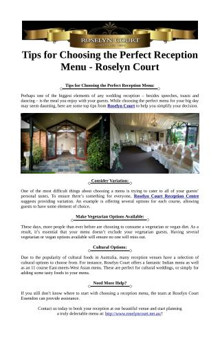 Tips for Choosing the Perfect Reception Menu - Roselyn Court