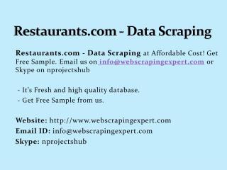 Restaurants.com Data Scraping