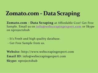 Zomato.com - Data Scraping